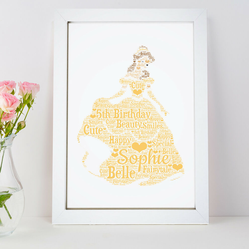 Personalised Word Art Belle Beauty Beast Princess Picture Print Gift