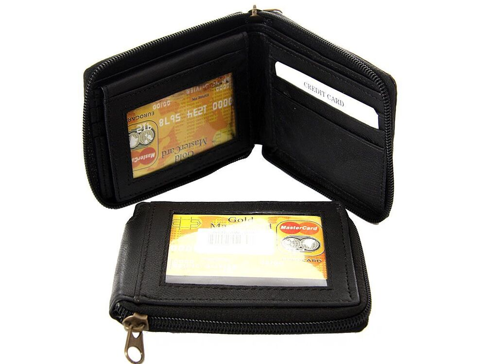 Men 39 s leather bi fold all round zipper 6 credit card 2 id for 2 id window wallet