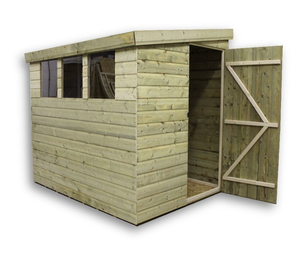 8x5 garden shed shiplap pent tanalised 3 low windows door for Garden shed 8x5