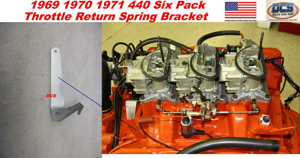 1969 1970 71 440 Six Pack Throttle Spring Bracket Made In