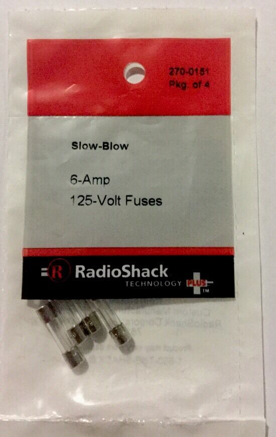 Radioshack 6 Amp 125v 5x20mm Slow Blow Fuse 4 Pack 270