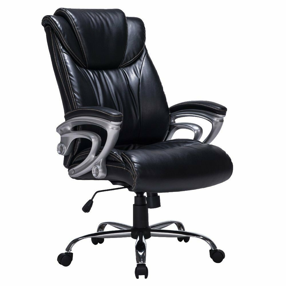Heavy Duty High Back Bonded Leather Thick Padded Office Chair Swivel Mechani