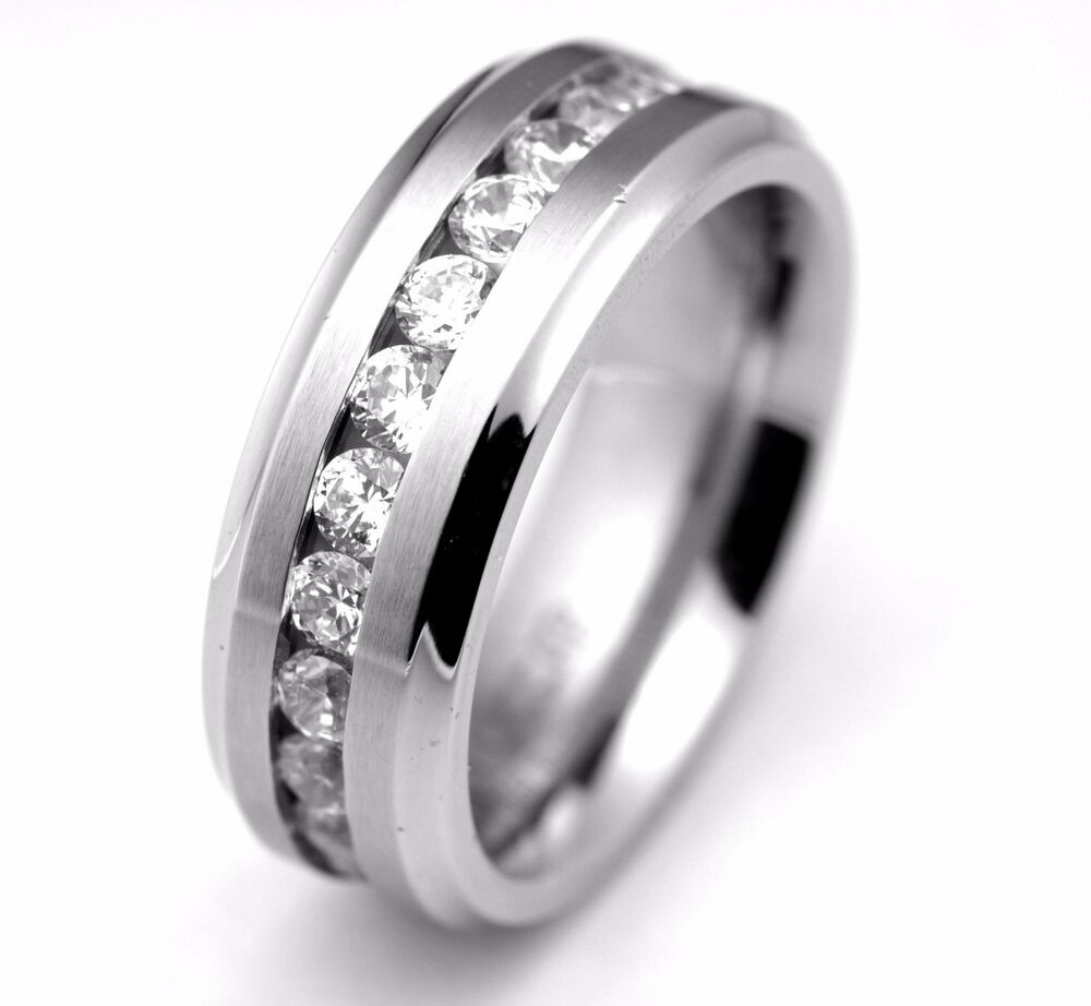 8mm mens classic wedding band ring stainless steel brushed