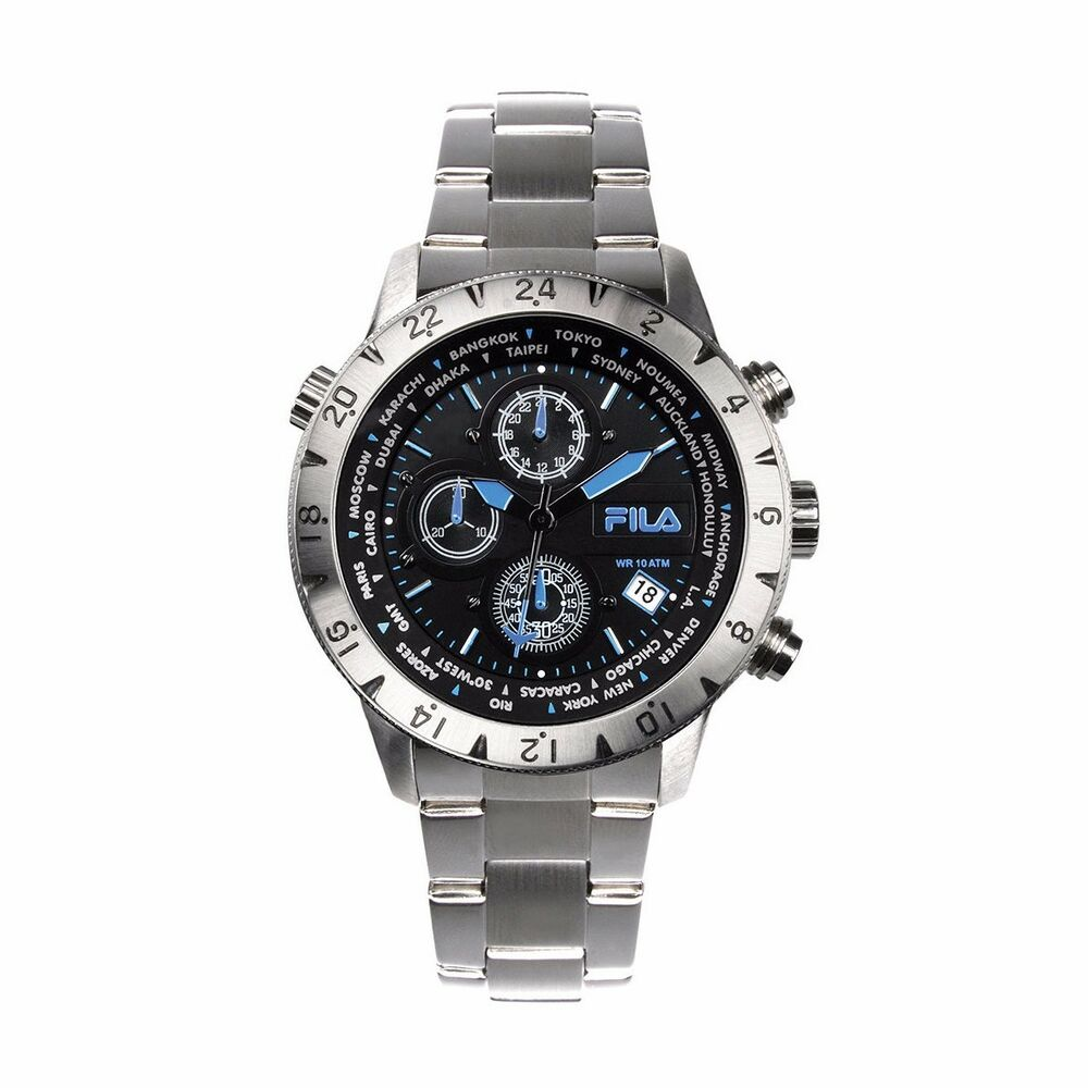 Fila men 39 s chronograph silver stainless steel 38 007 004 watch rrp 199 ebay for Fila watches