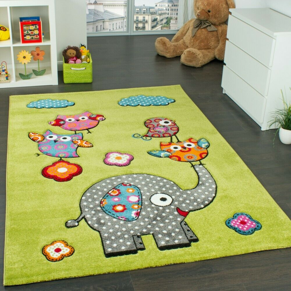 tapis chambre d 39 enfant adorable monde animal el phant vert bleu gris rouge ebay. Black Bedroom Furniture Sets. Home Design Ideas
