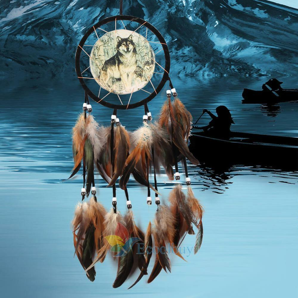 dreamcatcher wolves feathers white - photo #6
