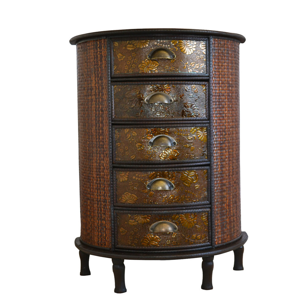 Chinese 5 drawer dark wood storage unit cabinet oriental for South asian furniture