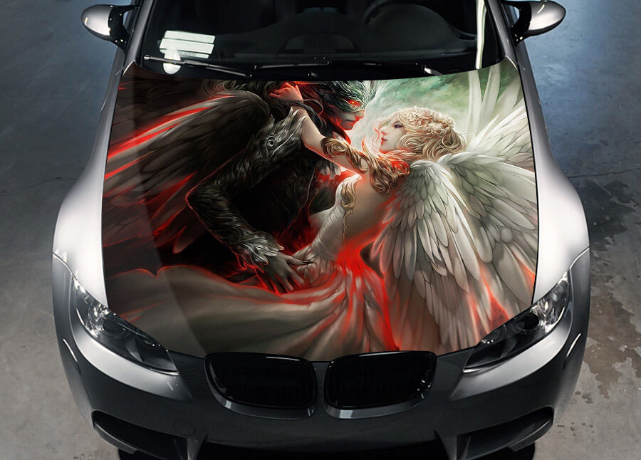 Angel And Demon Car Hood Wrap Full Color Vinyl Sticker