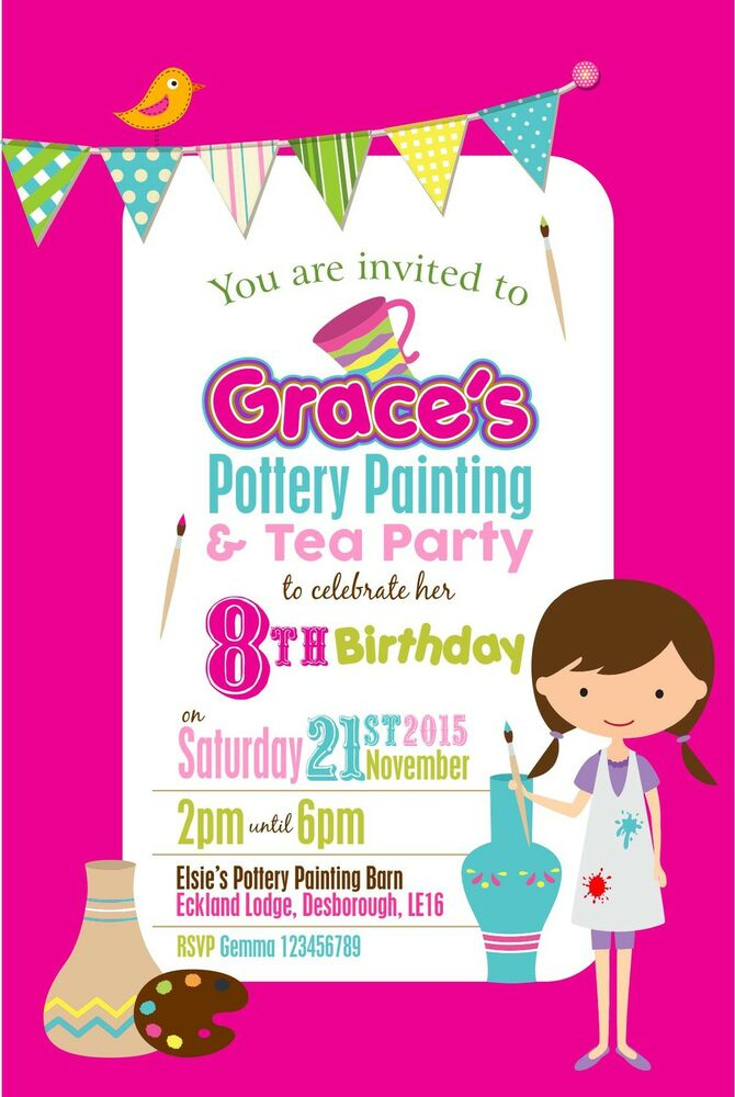 Personalised Birthday Invitations Pottery Painting Party x 5 | eBay