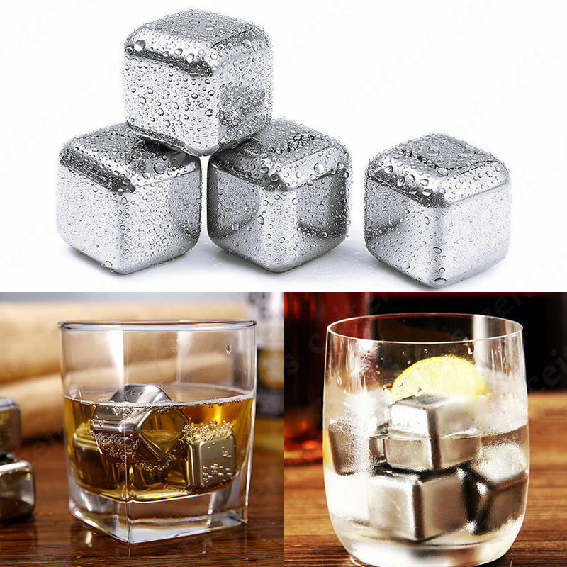 Stainless Steel Whisky Wine Ice Stones Drinks Cooler Cubes Whiskey ...