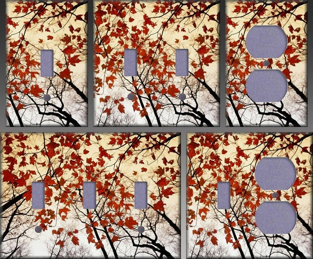 Wall Art Red Leaves : Red maple leaves wall decor light switch plate cover