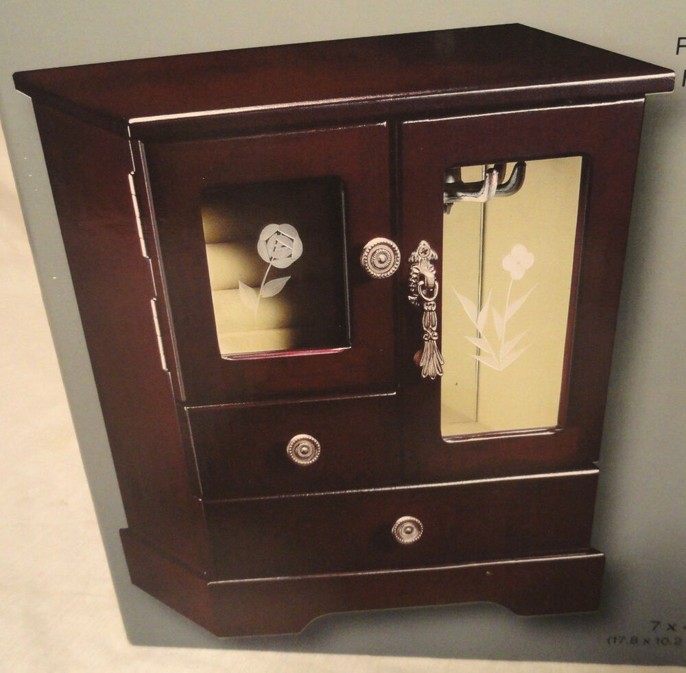 Espresso wooden jewelry box 2 drawer etched glass for Mirror jewelry box