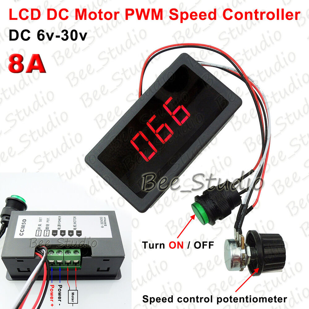 Lcd Dc Motor Pwm Speed Controller With Digital Display Switch 6 Led Dimmer Using Ne555 30v Max 8a Ebay