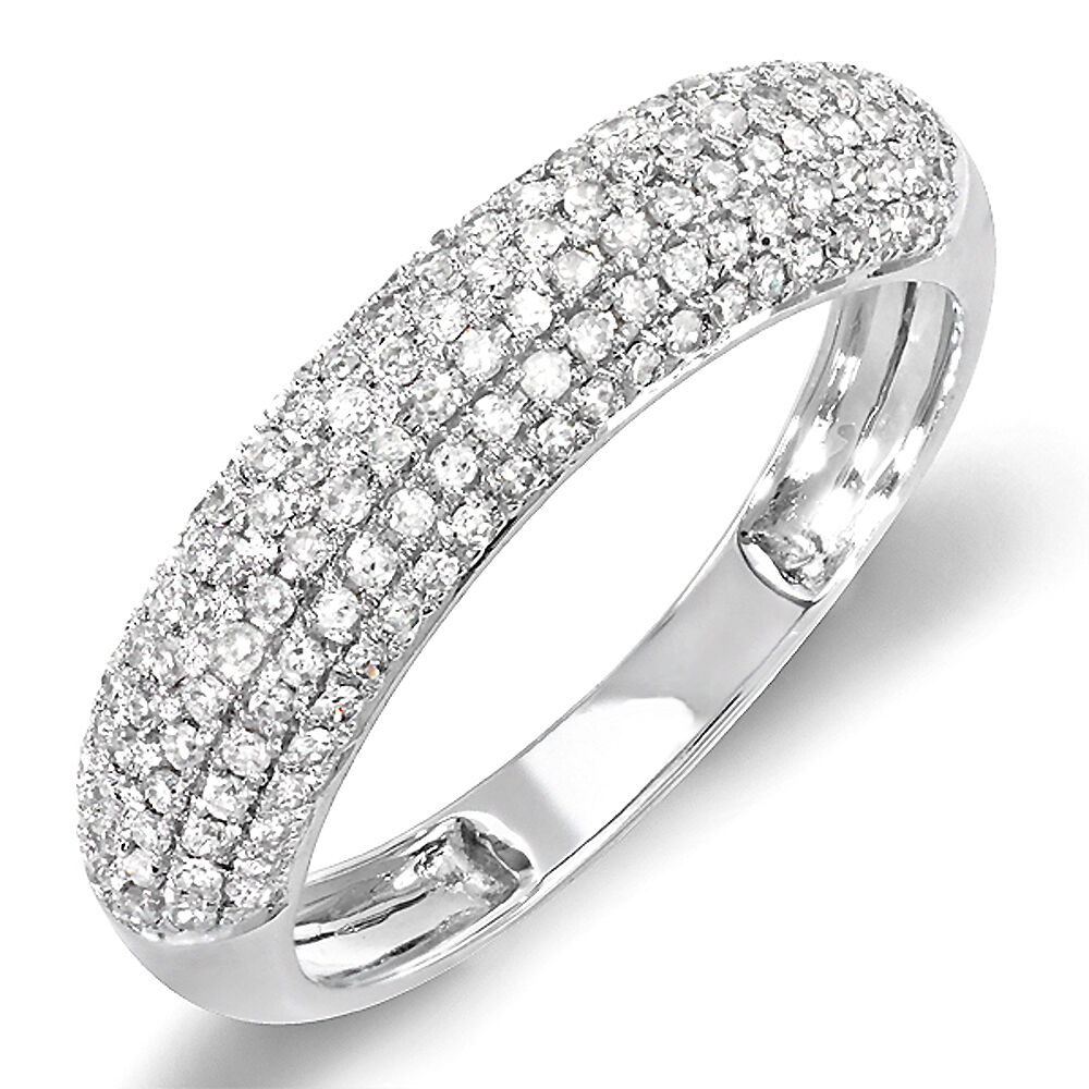 0.50 Carat 14k White Gold Round Diamond Ladies Anniversary
