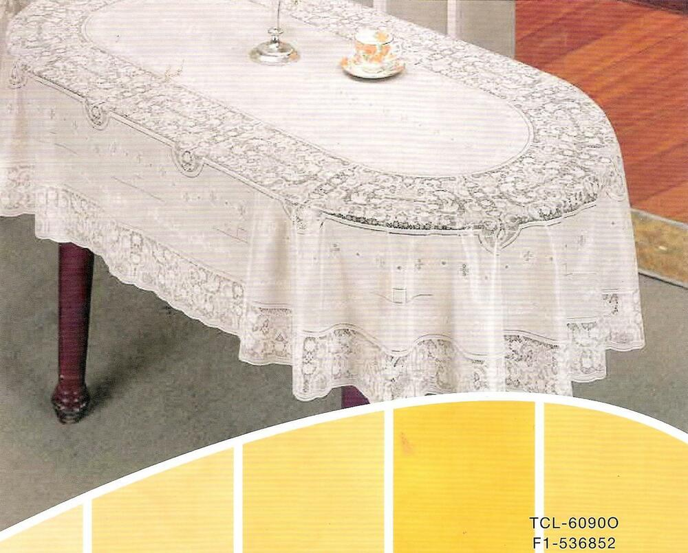 60 Quot X 90 Quot Oval Vinyl Lace Tablecloth 100 Embossed