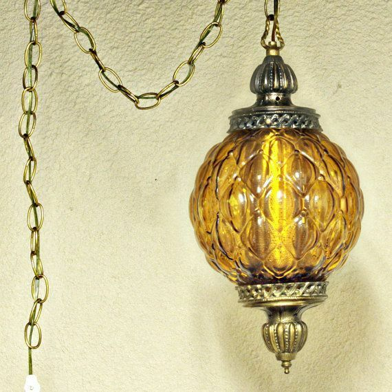 60's HANGING SWAG LAMP LARGE AMBER COLOR GLOBE, METAL