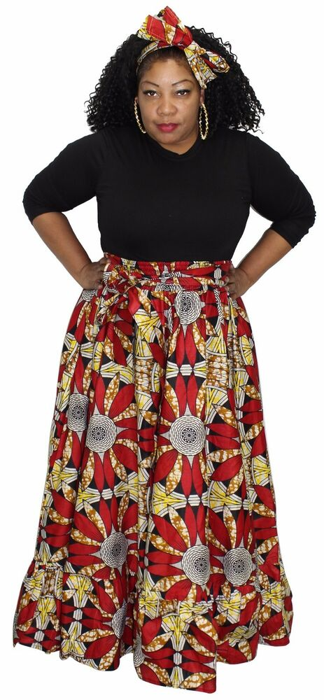 9f8d4a3117604d Details about African Ankara Long Maxi Style Ruffled Hem wide Flare Skirt  with Head Wear