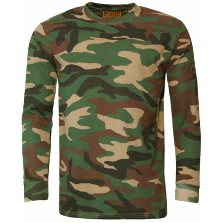 img-Men's Game Camouflage T Shirt Army Camo Woodland Top Hunting Shooting Fishing