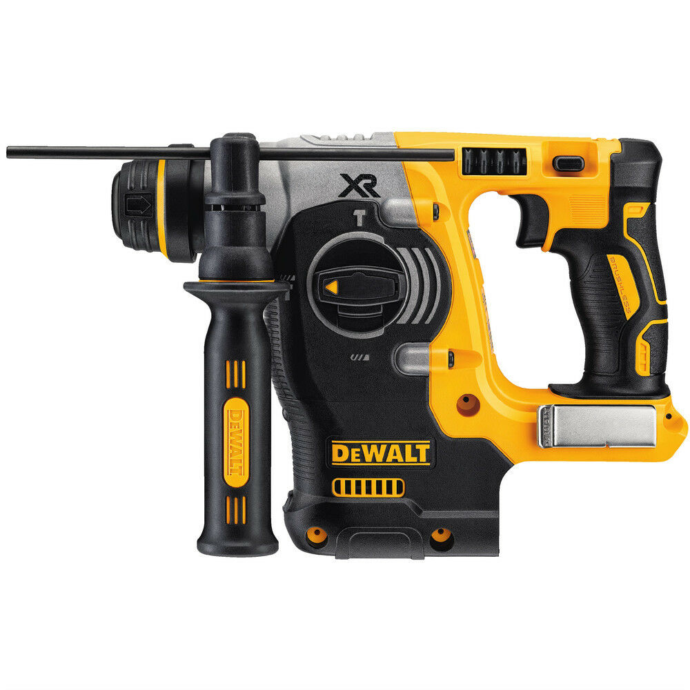 "The following are trademarks for one or more DEWALT power tools, accessories, anchors and concrete adhesives: The yellow and black color scheme; the ""D""-shaped air intake grill; the array of pyramids on the handgrip; the kit box configuration; and the array of lozenge-shaped humps on the surface of the tool."