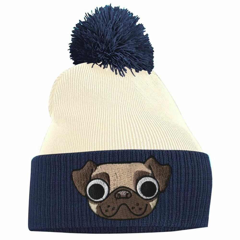 Details about Pug Face Cute Dog Animal Embroidered 2 Tone bobble Beanie Hat  Logo Women s 3ef0b5f988