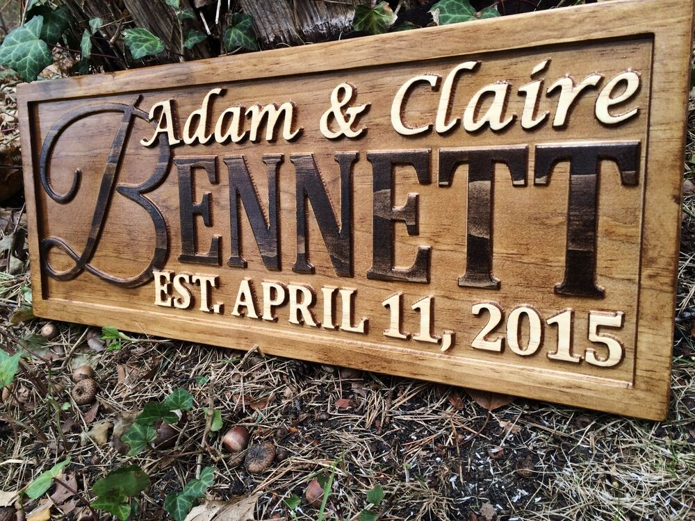 Personalized Wedding Gift Family Last Name Sign Custom
