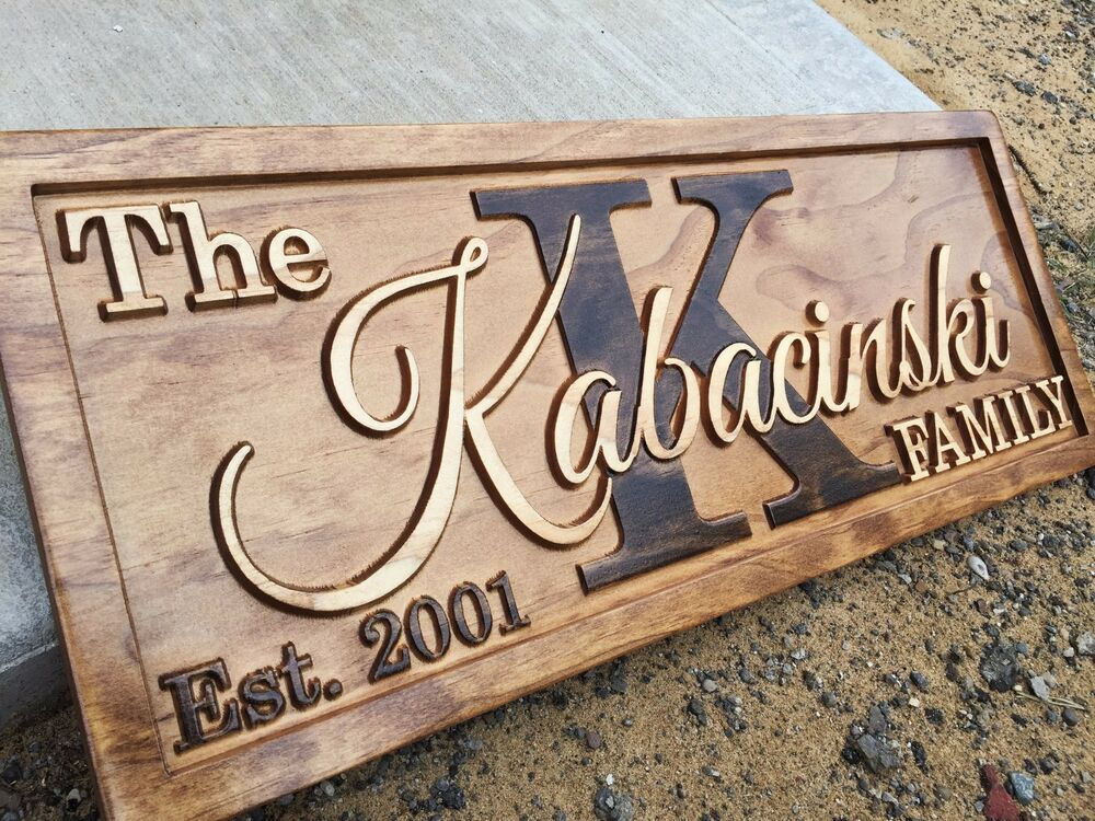 Personalized last name sign wedding family custom wood