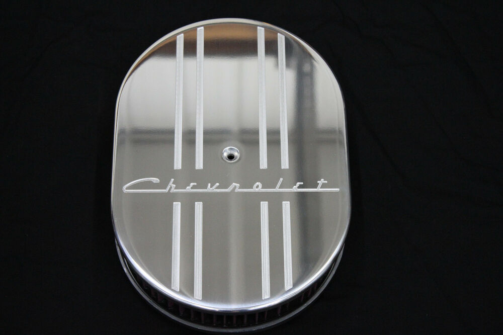 Chevy 350 air filter ebay new style chevrolet 12 inch oval air cleaner billet aluminum 2 inch kn filter sciox Choice Image