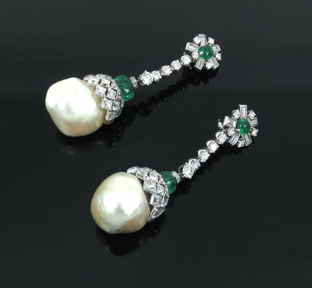61217772a2075e Details about Antique 13.50ct French Cut Diamond 6.0ct Emerald & Pearl  Platinum Drop Earrings