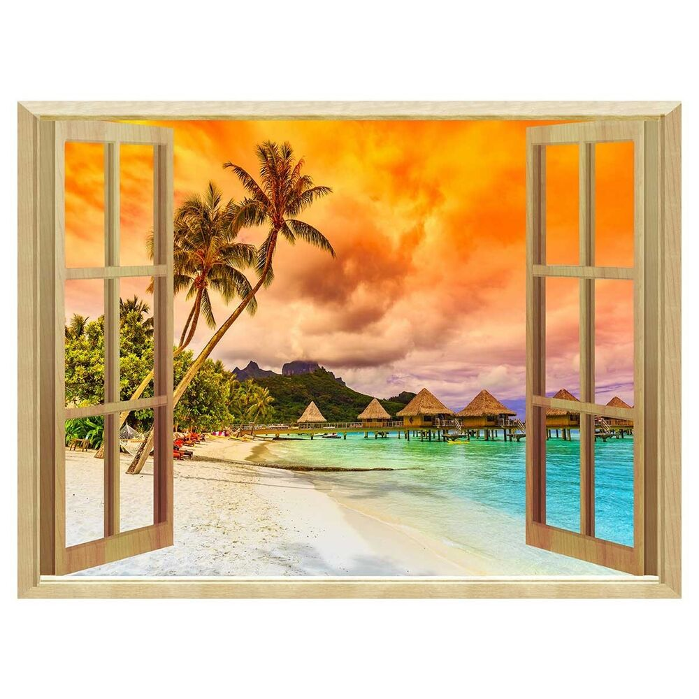 3d windows sunset removable wall sticker wallpaper murals for Mural 3d wallpaper