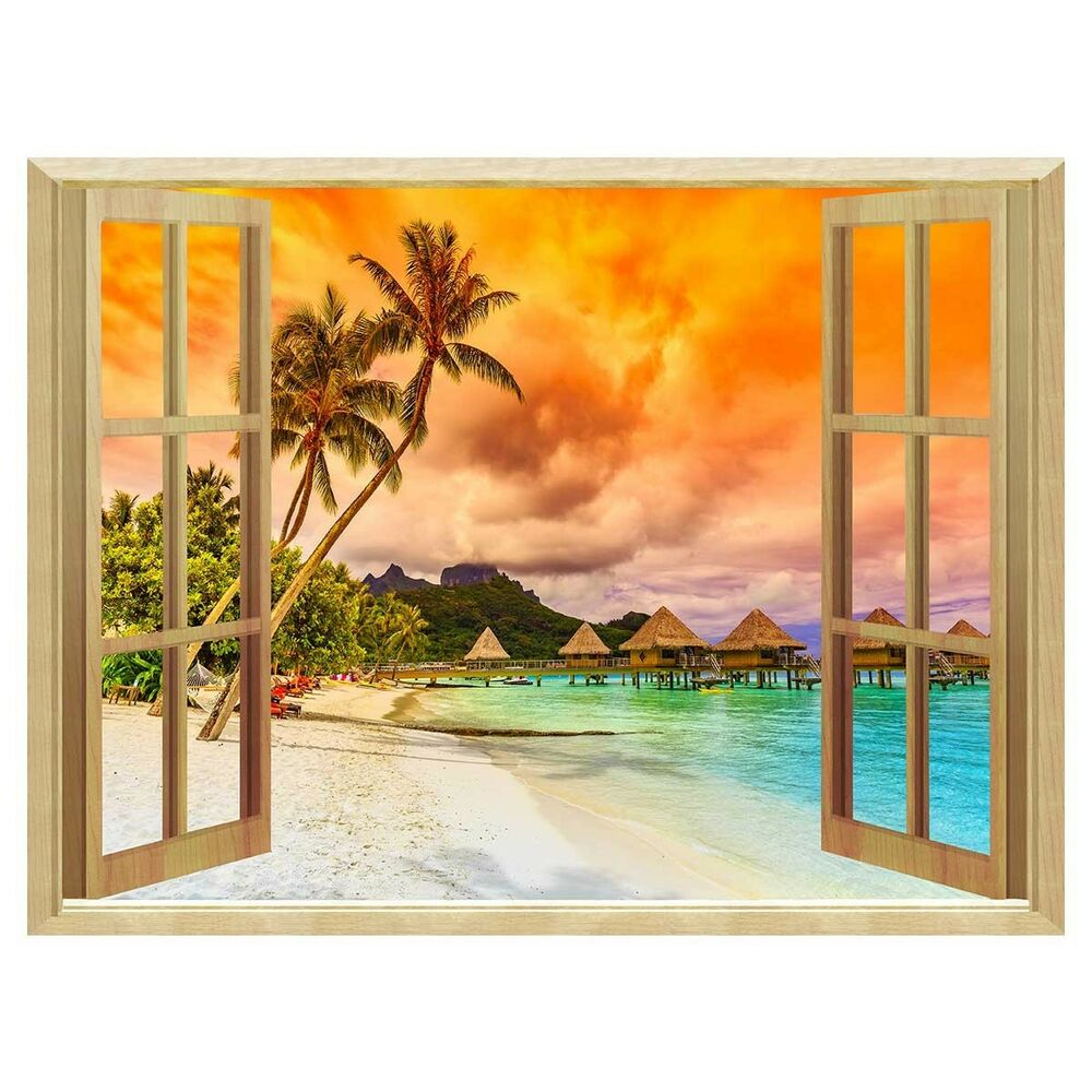 3d windows sunset removable wall sticker wallpaper murals wall decal