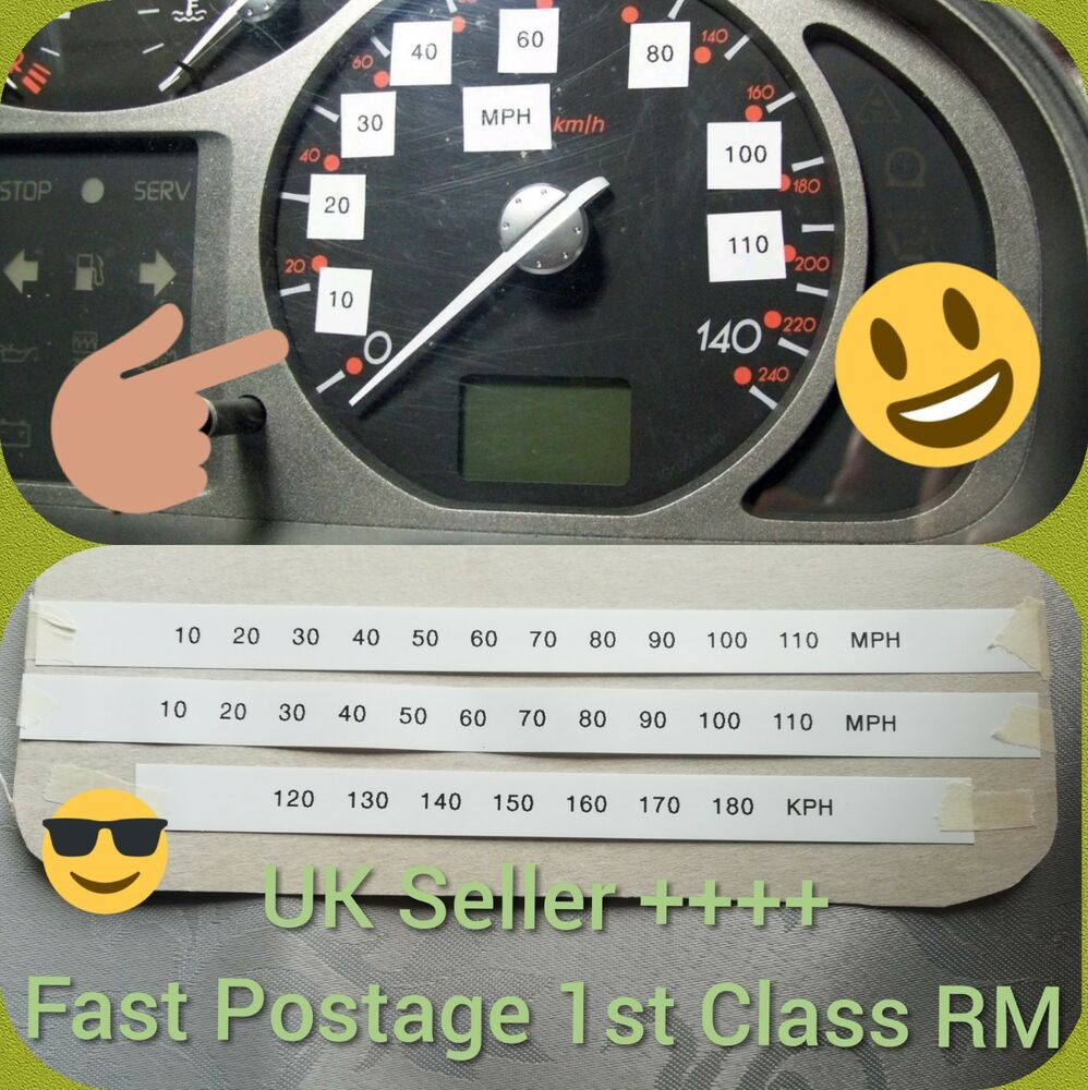 Details about speedometer speedo cluster conversion kit stickers mph kph km kmph import new