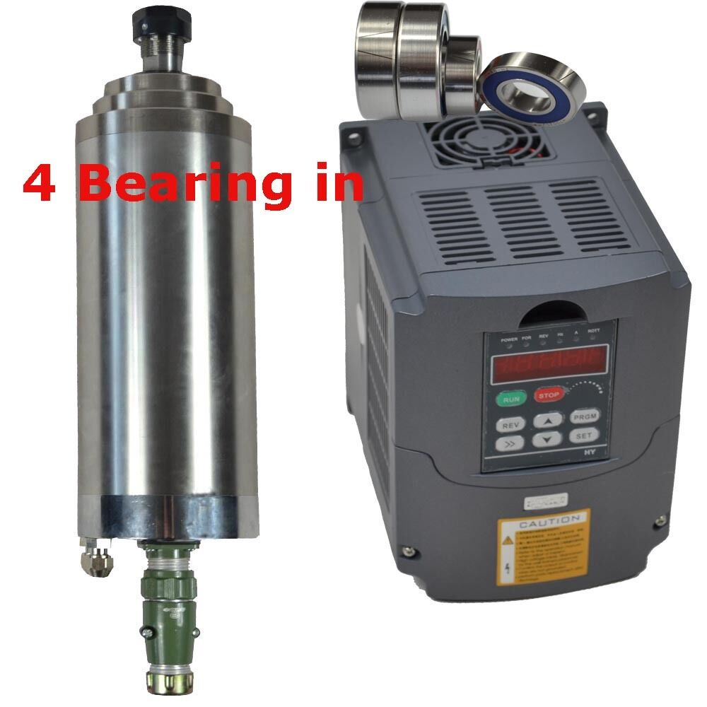 3kw 380v water cooled spindle motor and 4kw 380v vfd for Variable frequency drive motor