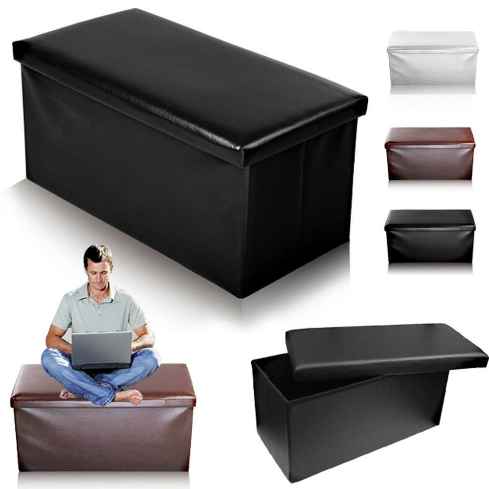 2 Seater Double Large Folding Storage Faux Leather Ottoman