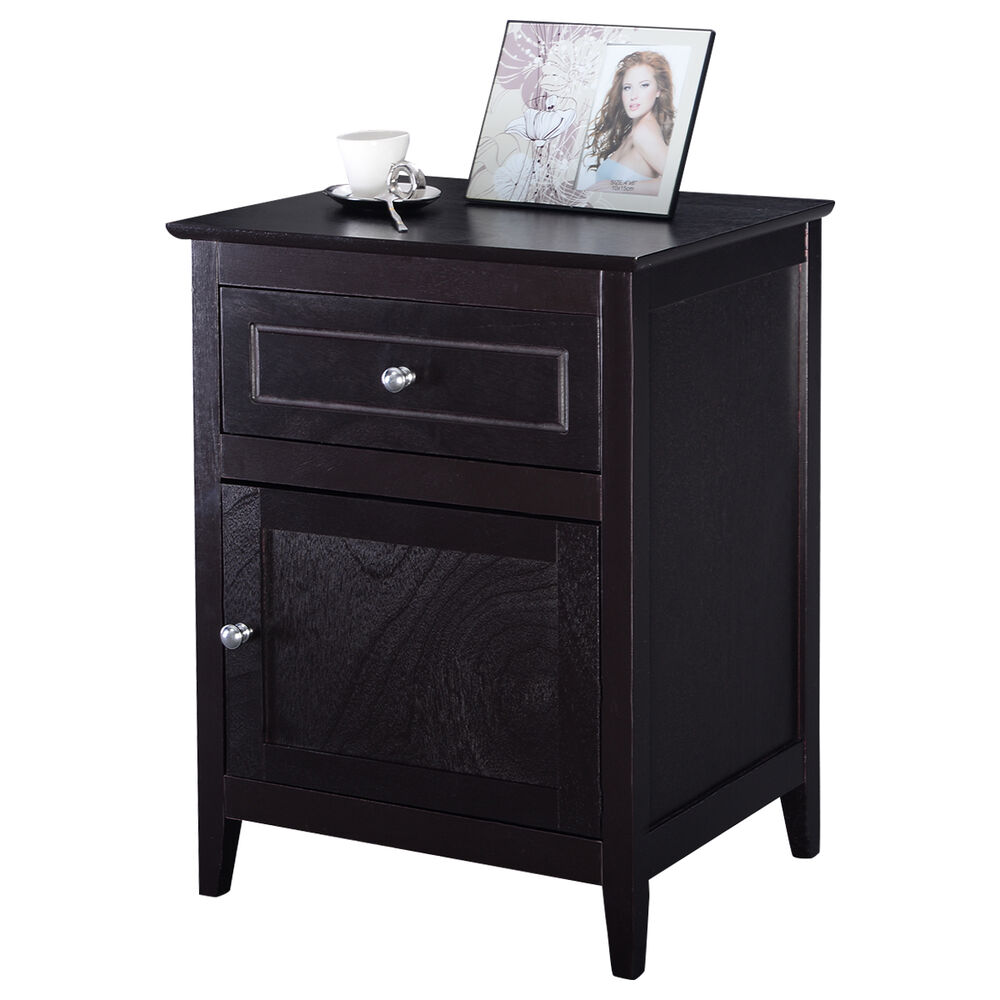 Accent End Table Nightstand Bedroom Living Room Furniture Espresso Beechwood Ebay