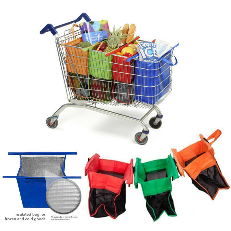 One set of 4 bags reusable eco grocery cart shopping trolley bags insulated bag ebay