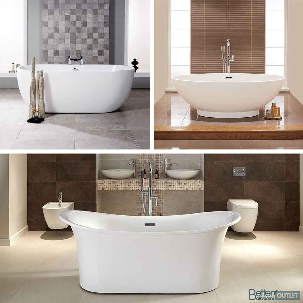 Freestanding bath tub slipper roll top single double ended for Best acrylic bathtubs
