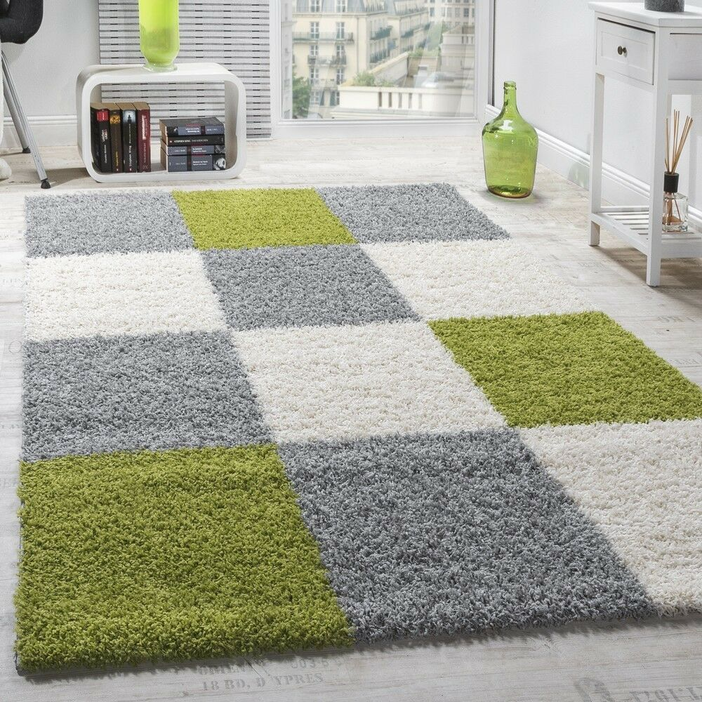 tapis shaggy longues m ches hautes carreaux gris blanc vert ebay. Black Bedroom Furniture Sets. Home Design Ideas
