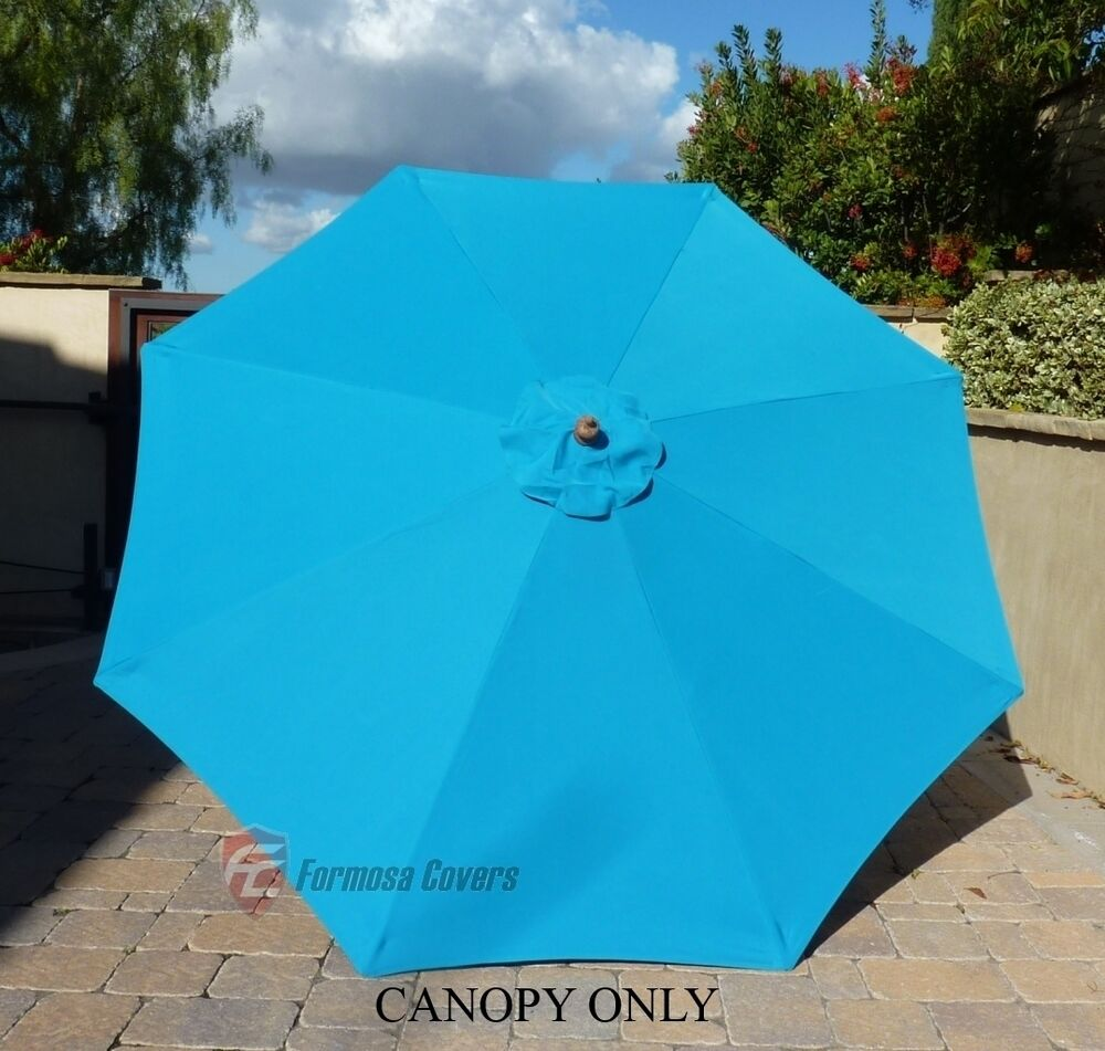 9ft patio outdoor yard umbrella replacement canopy cover top 8 ribs teal ebay. Black Bedroom Furniture Sets. Home Design Ideas