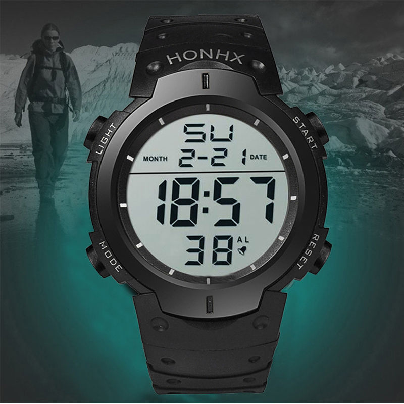 Men Fashion Military Stainless Steel Digital LED Date ...