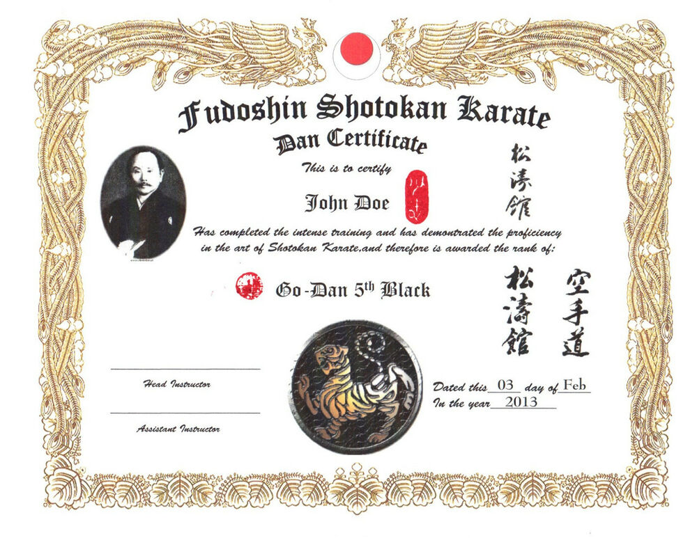 Shotokan karate custom 11 x 14 certificate ebay for Black belt certificate template
