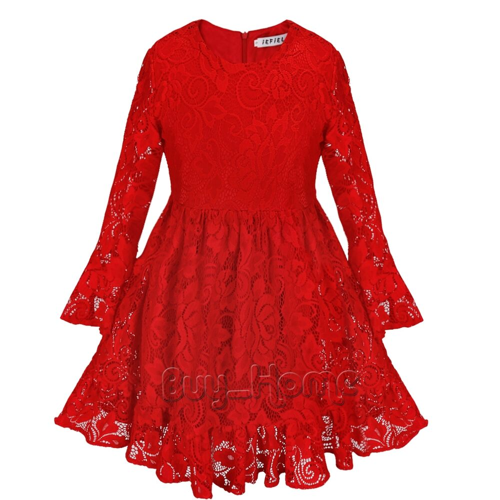 Kids Flower Girl Casual Red Dress Long Sleeve Lace Party