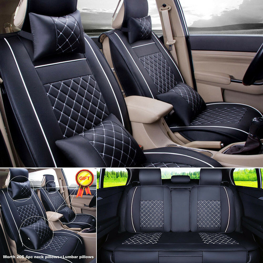 pu leather seat cover car 5 seats sedan suv front rear set durable w free gift ebay. Black Bedroom Furniture Sets. Home Design Ideas