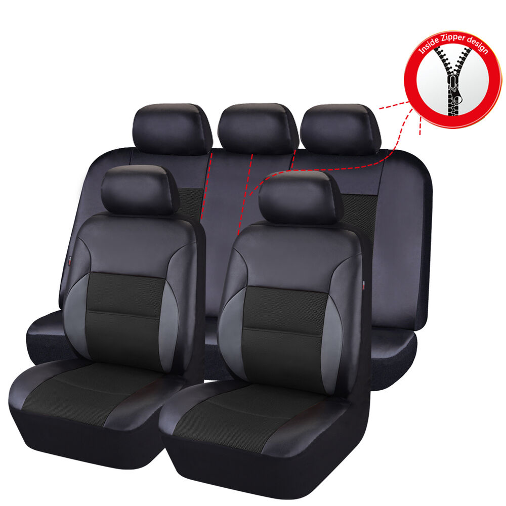 car pass breathable pu leather universal fit car seat covers black color ebay. Black Bedroom Furniture Sets. Home Design Ideas