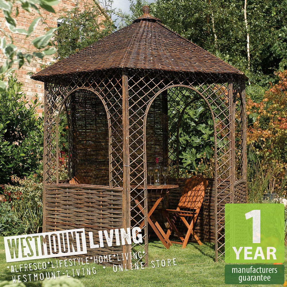 new wood floor willow natural garden patio rustic gazebo