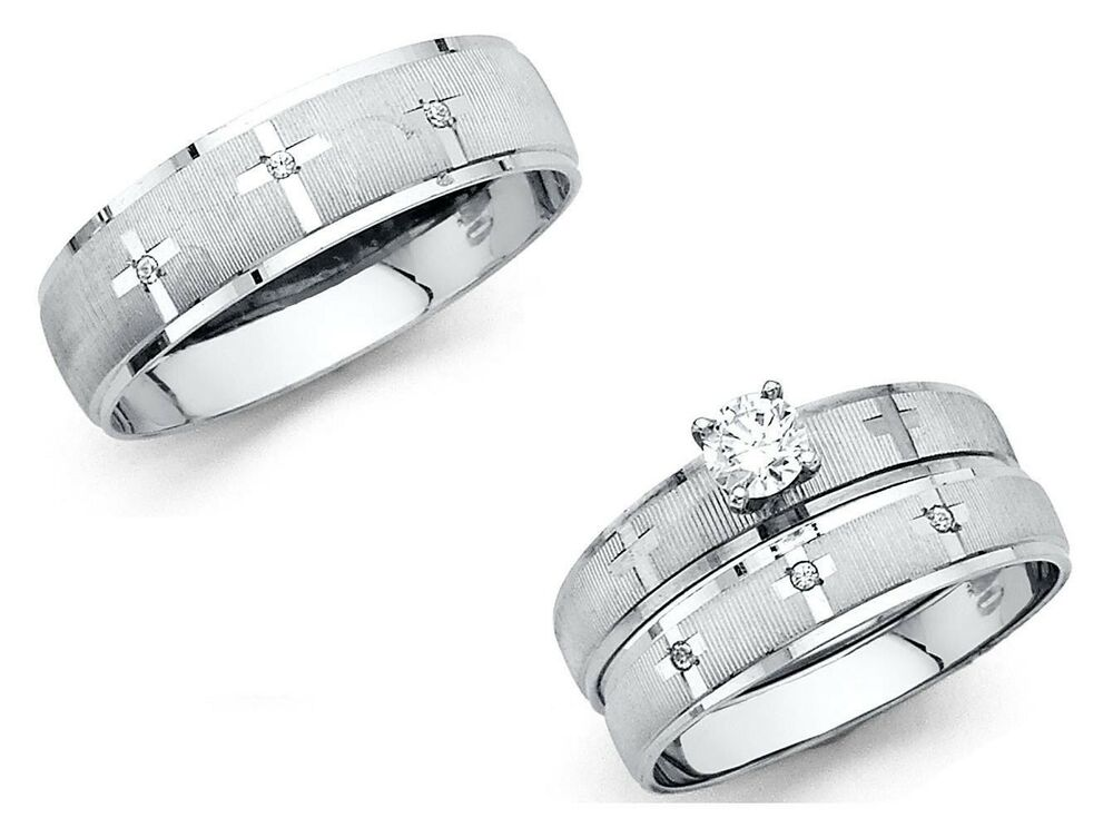 wedding ring set 14k solid white gold cross wedding band bridal solitaire 9983
