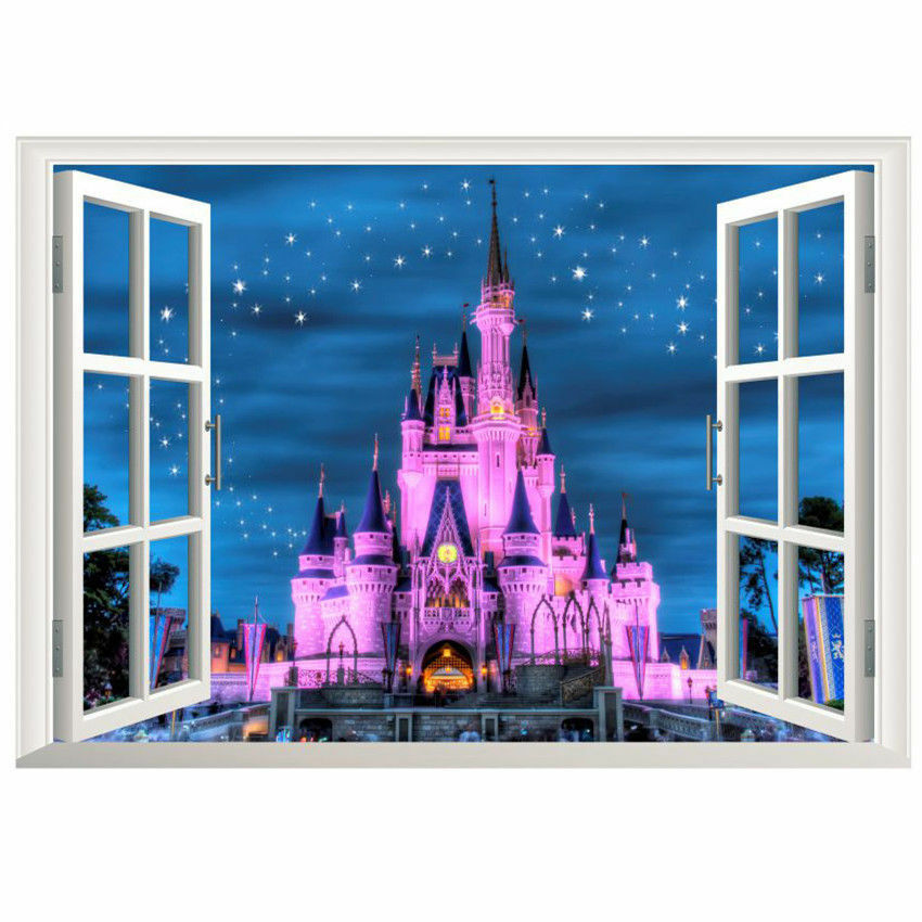 Disney land princess castle 3d window wall decal kids for Castle wall mural sticker