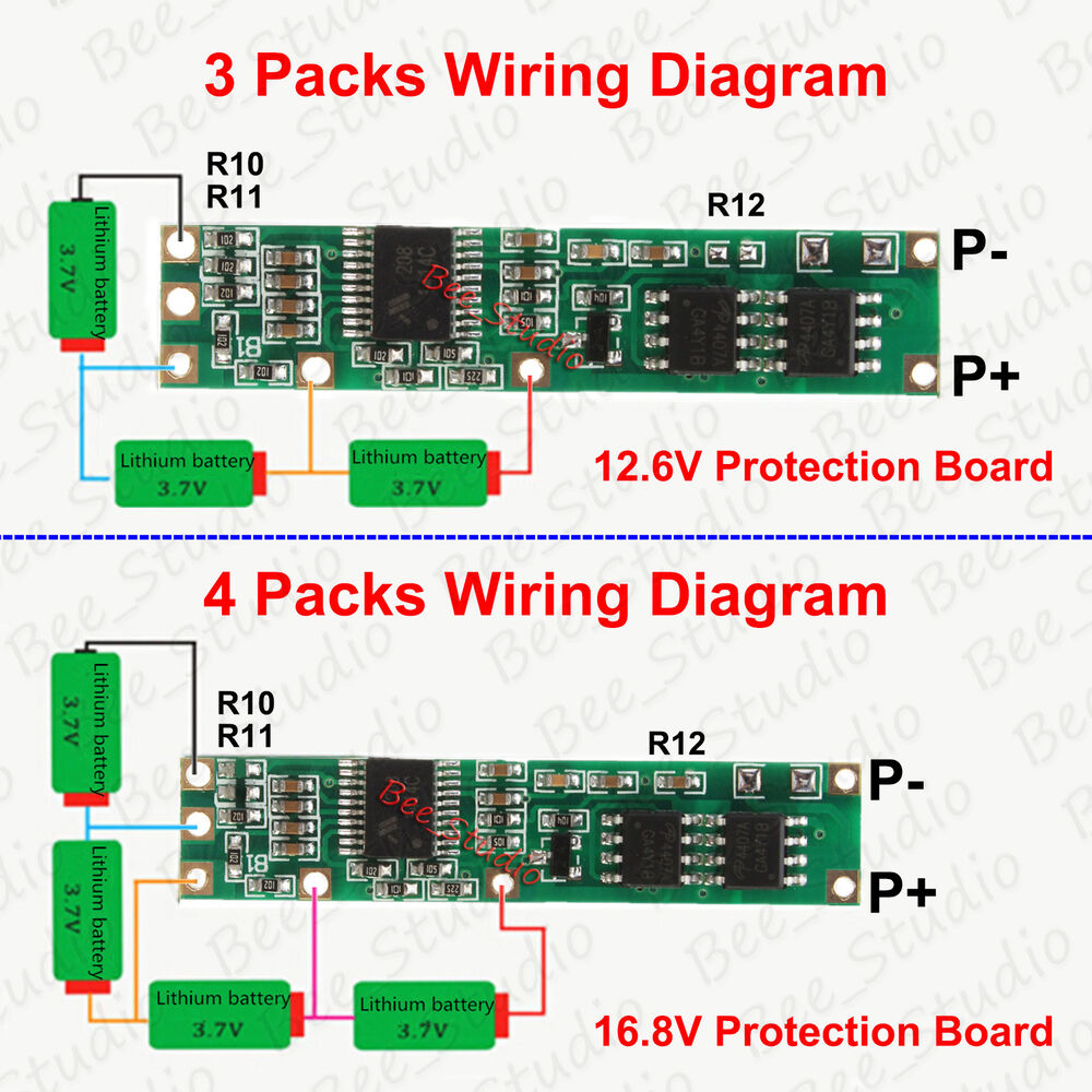 bms protection pcb board for 3s 4s 18650 li ion lithium. Black Bedroom Furniture Sets. Home Design Ideas