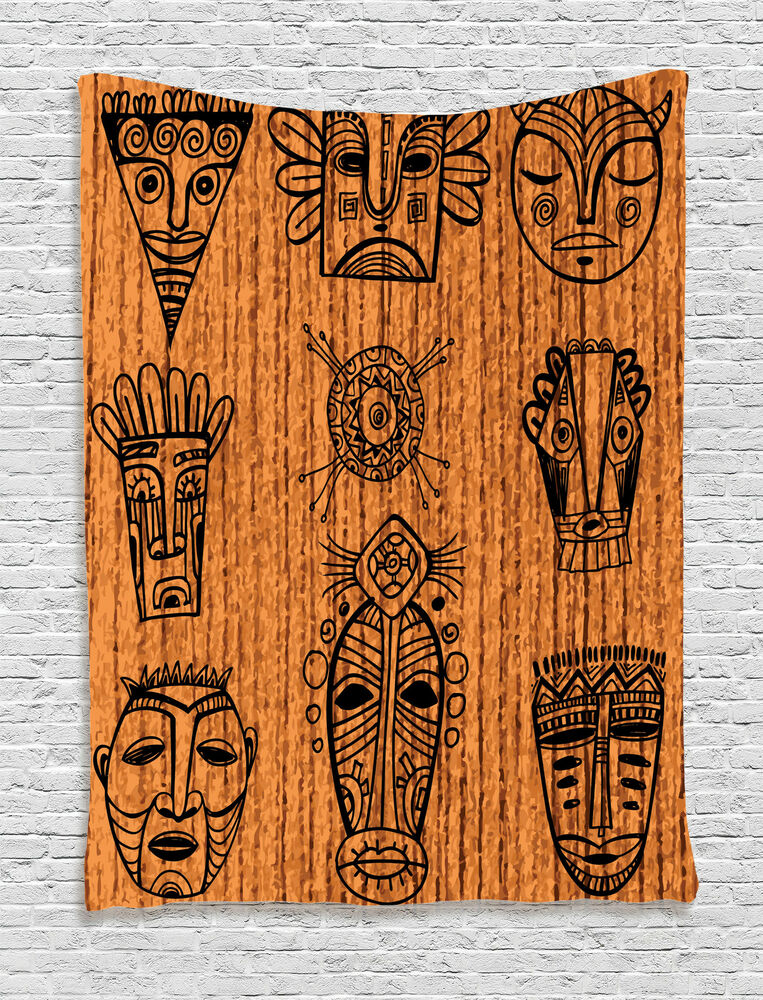 African tapestry wall hanging tribal native masks home for Wall hanging picture for home decoration