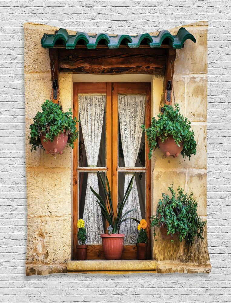 Rustic Tapestry Wall Hanging Old Window And Flowers Home