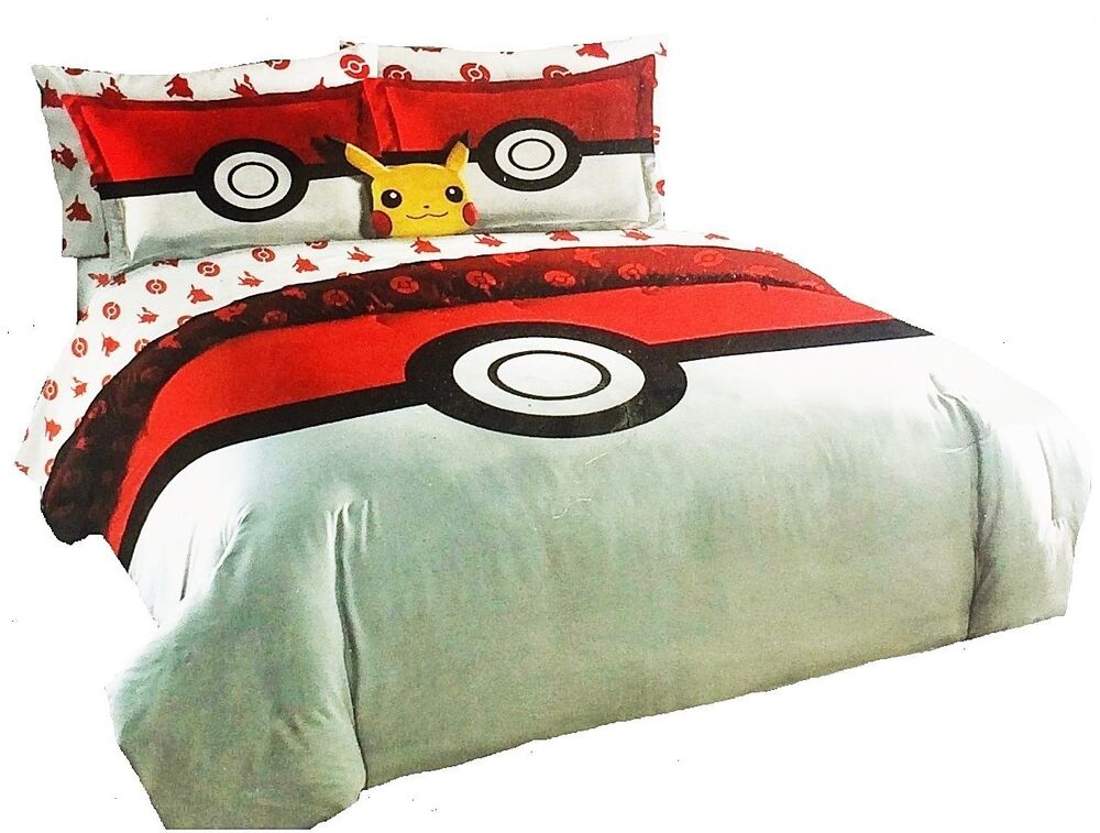 pokemon go queen size comforter shams sheets pikachu pillow set 8pc bed in a bag ebay. Black Bedroom Furniture Sets. Home Design Ideas